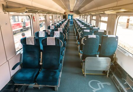 interior passenger carriage with armchairs Banque d'images - 130672517