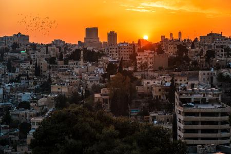 beautiful sunset over the Amman city. Jordan