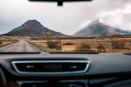 Iceland landscape through the car window