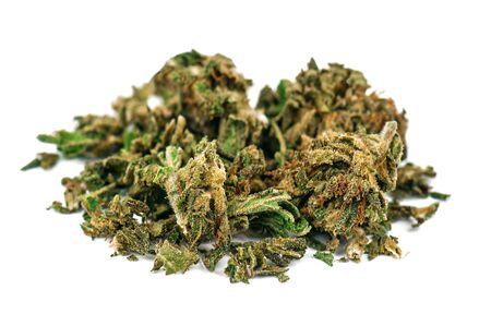 medical marijuana flower bud isolated on white Banque d'images - 126379969