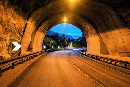 end of car road tunnel in the mountain in Norway or Iceland Banque d'images - 126379984