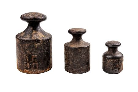 three different vintage merchandise weights isolated on white Banque d'images - 126378256