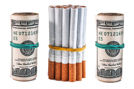 bunch of cigarettes and rolls of dollar isolated on white