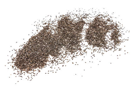 chia seeds scattered isolated on white