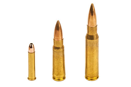 cartridges bullets of different caliber isolated on white 版權商用圖片
