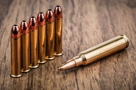 cartridges bullet of different caliber on wooden background