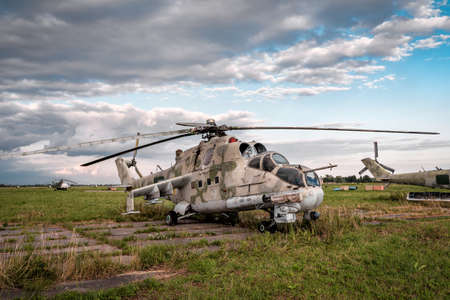 cemetery of old military helicopters