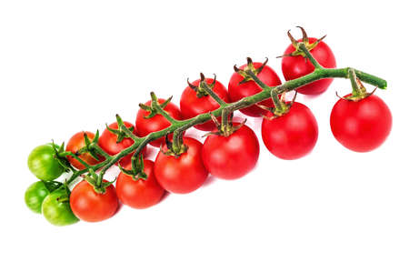 lush and ripe cherry tomato twig isolated on white