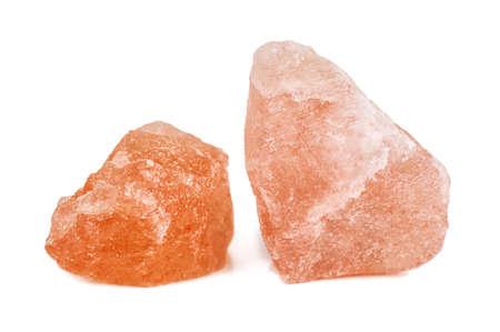 crystals of pink Himalayan salt isolated on white 版權商用圖片