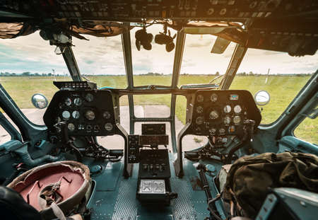 interior of cockpit of a military helicopter