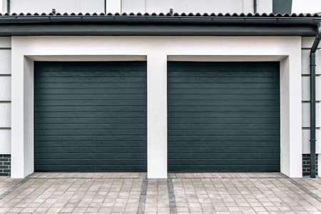 double modern closed garage door