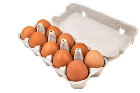 ten eggs in a paper tray box, egg carton isolated on white