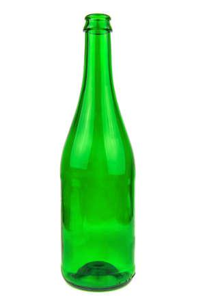 empty green wine, Champagne bottle isolated on white 版權商用圖片