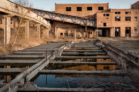 flooded ruins of an old abandoned factory 版權商用圖片