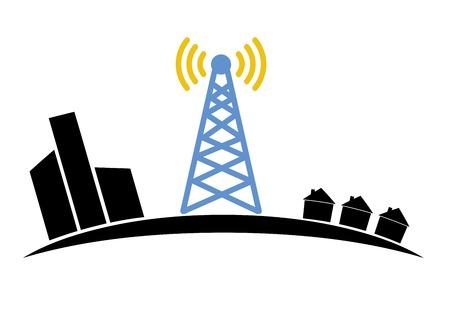 satellite transmitter: Illustration of wireless signal of internet into houses in city,for logo design