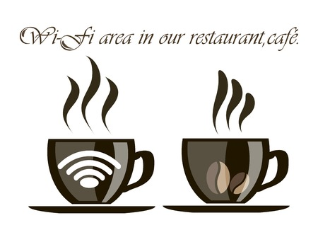 cup of coffee with the icon of the wireless network for the design of your institution Vector