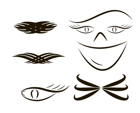 Set tribal tattoos illustration without transparency. Vector