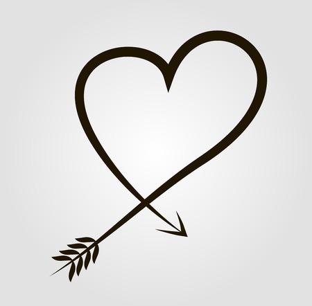 Black heart design in tattoo parlors Vector