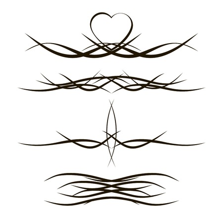 Set of 4 different vector tribal tattoo in polynesian style,for design in tattoo parlors