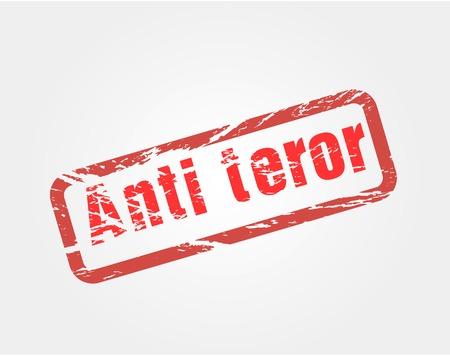 signet: Sello rojo del grunge llamando contra el terrorismo, para las publicaciones