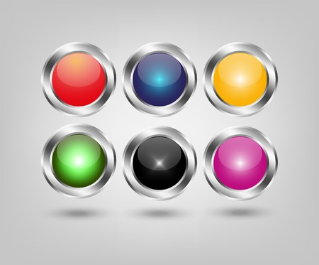 metal base: Set of six glossy buttons on metal base,For web design