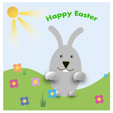 public celebratory event: Easter bunny playful with painted eggs,design Easter postcards