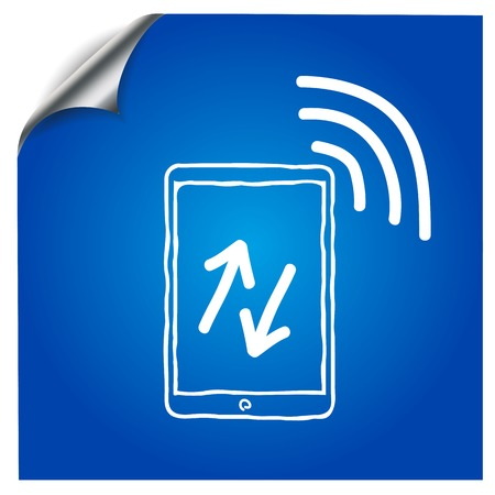 palmtop: The tablet on a blue background is drawn with a marker,with the wireless symbol.for design applications Illustration