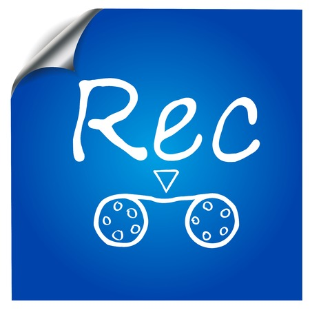 recording: The recording symbol painted on a blue background for design of mobile applications Illustration