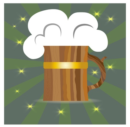 wooden circle: Beer with foam in a wooden circle on a green background,for design pub Illustration