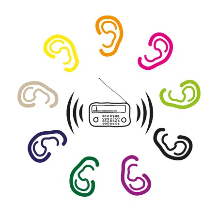 To hear with the ears of the radio signal,for advertising radio stations Vector