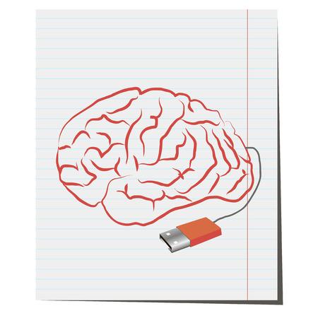 usb port: Brain with USB port pen,Brain with USB plug pen,design for business ideas