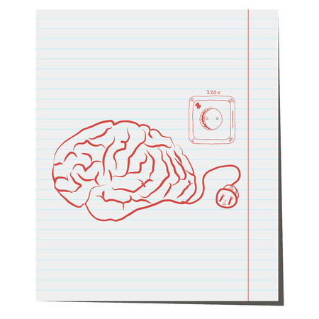 electrical plug: Brain with electrical plug,a hand-drawn pen for design in business