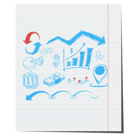 articles: The symbols on the business theme with hand-drawn design for in articles about business