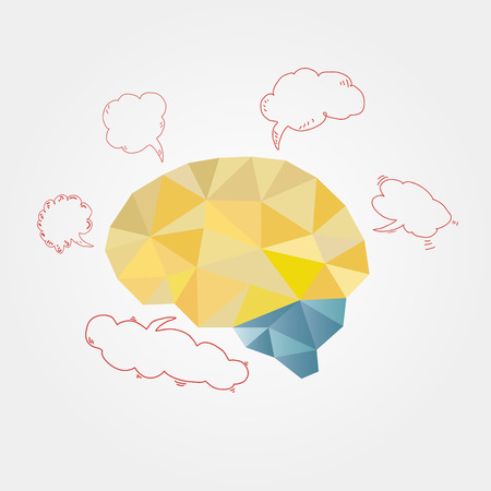 The brain in the polygonal style with clouds of thought,for business projects Vector