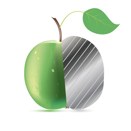 Fresh green Apple with metal inside,for the design of drugs Vector