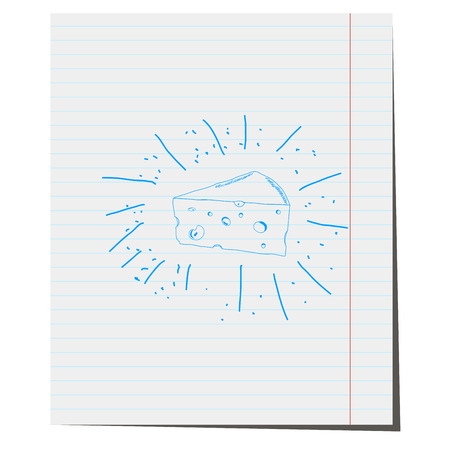 chunk: a piece of cheese pen on notebook sheet,for design in the food industry