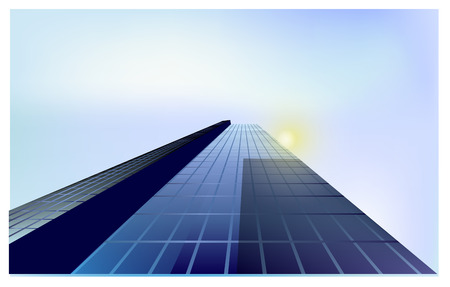 boston skyline: Glass skyscraper vector with the glare of the sun,for design in business projects