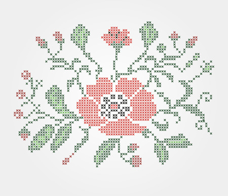 lappet: Traditional embroidery is made in the Ukrainian style,design in typography Illustration