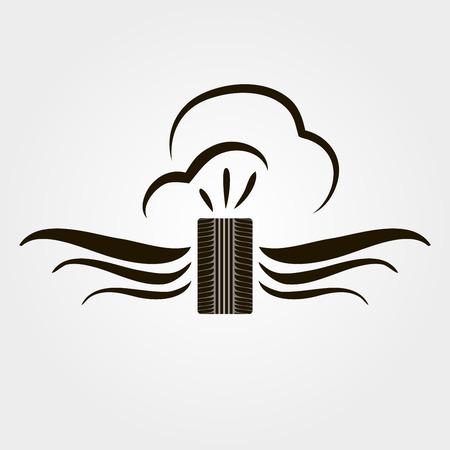 summer tires: Camino del icono del vector de los neum�ticos - s�mbolo transporte m�nima