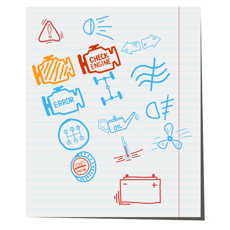 vector icons car service character,drawn by hand in a notebook,for design applications Vector