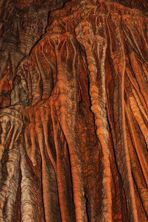 stalactites: View of the Stalactites and stalagmites in Dim Caves. Stock Photo