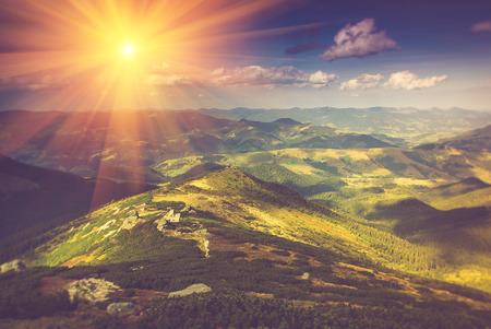Beautiful summer landscape in the mountains at sunshine. Standard-Bild