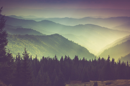 haze: Layers of mountain and haze in the valleys.