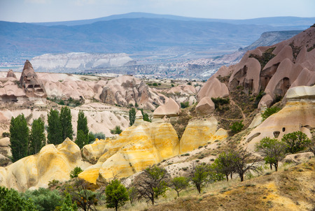 View of the cave houses of Cappadocia and Goreme National Park. Turkey. photo