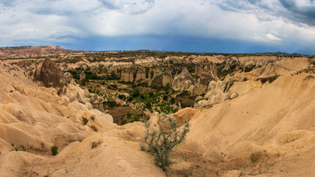 Panoramic view of idyllic mountain landscape in the Cappadocia. Turkey. Goreme national park. photo