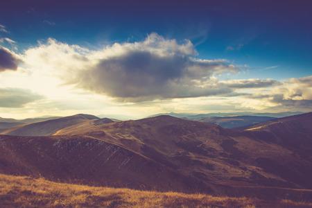 sunshine: Beautiful landscape in the mountains at sunshine. Stock Photo