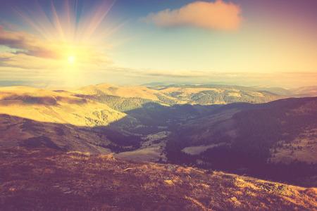 Beautiful summer mountain landscape at sunshine.