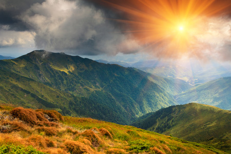 sunshine: Summer mountain landscape at sunshine. Hiking trail in the hills. Stock Photo