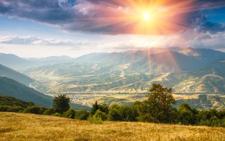 beautiful sunshine: Beautiful landscape in the mountains at sunshine. Stock Photo
