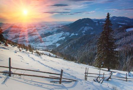 winter sunrise: Winter sunrise in the mountains.
